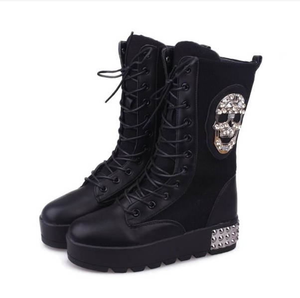 Edgy Snow Boots Winter Boots Diamond Skull Head Rivet Quality on ...