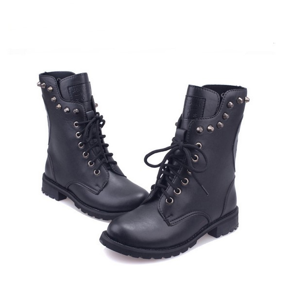 Cute Skeleton Head Boots Womens Rivet Martin Boots Black Brown ...